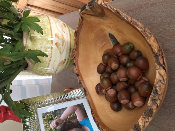 Acorns in a bowl accent piece