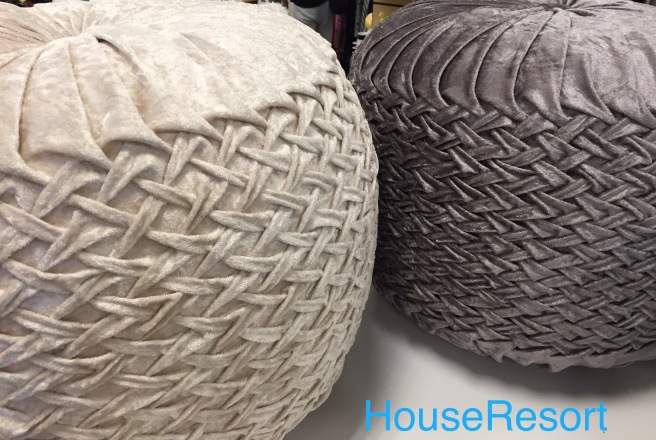 Tuffet ottomans in shimmering fabrics