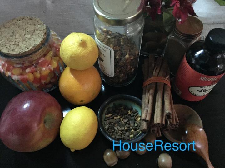 Lemons,apples,cinnamon,nutmeg,cloves, and vanilla extract