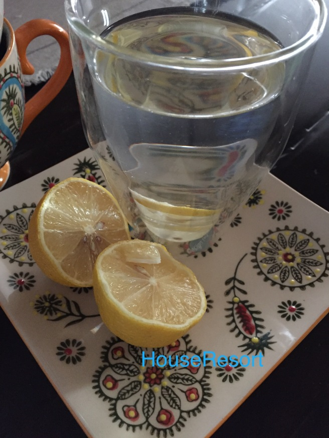 Glass of warm water with lemon juice