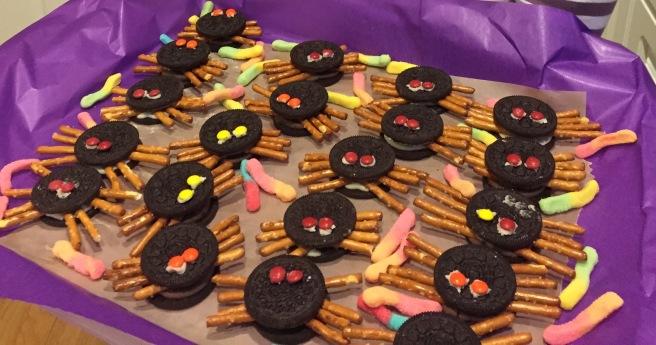 Oreo cookies, pretzels, tiny M&Ms