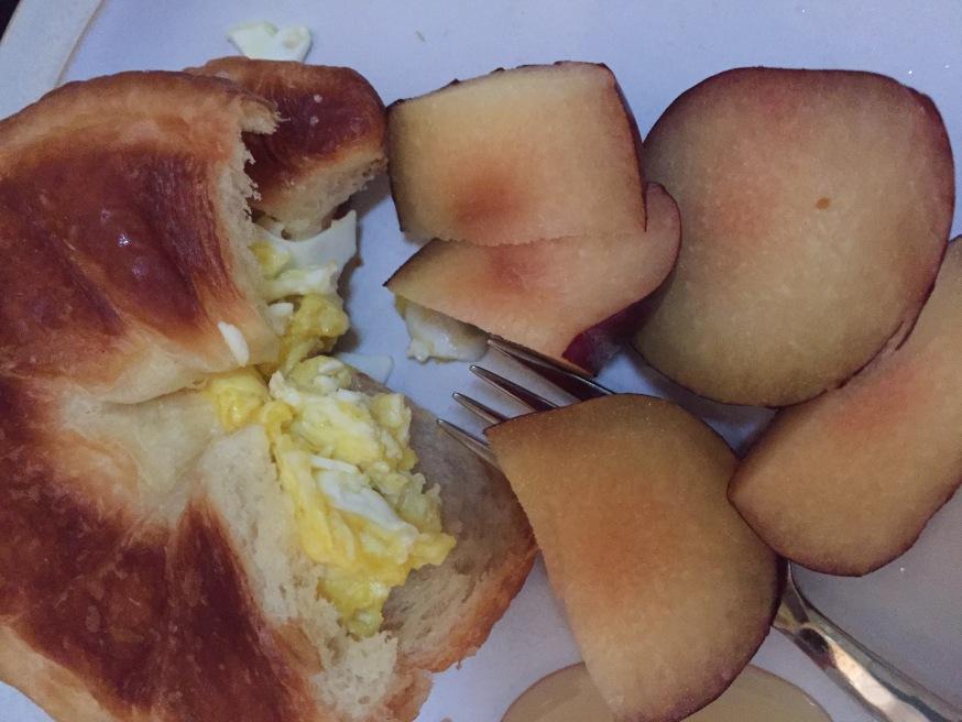 Egg croissant breakfast