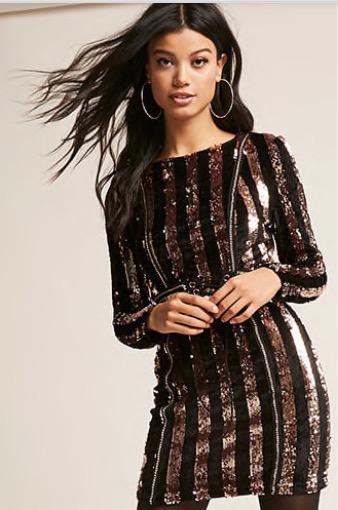 Forever 21  Metalic Sequin Velvrt Dress