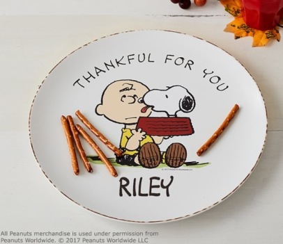 Pottery Barn Kids, Peanuts Personalized Plate