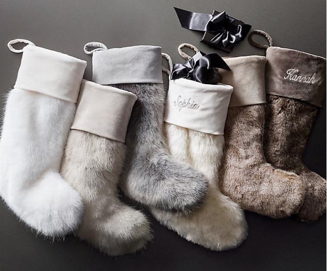 RH, Faux Fur Christmas Stockings