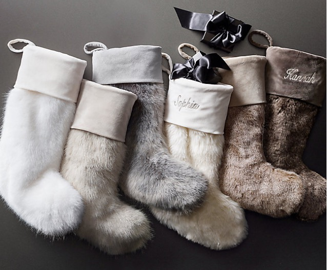 RH, Faux Fur Christmas Stockings