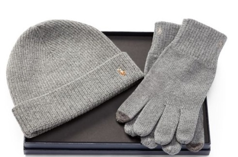 Ralph Lauren men's wool hat & glove set