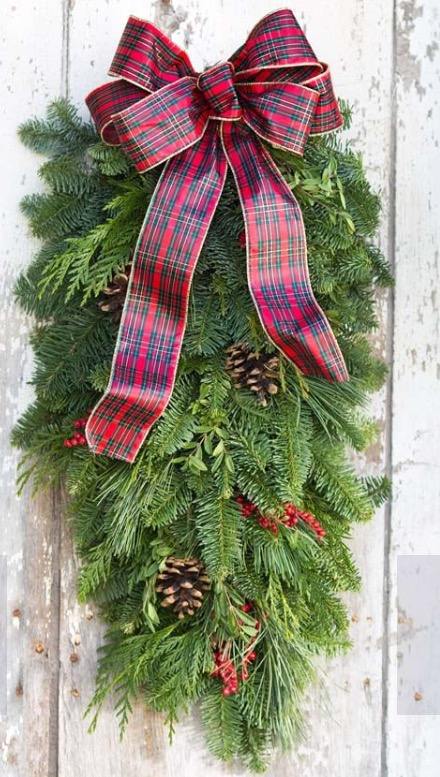 Holiday Woodland Evergreen door swag