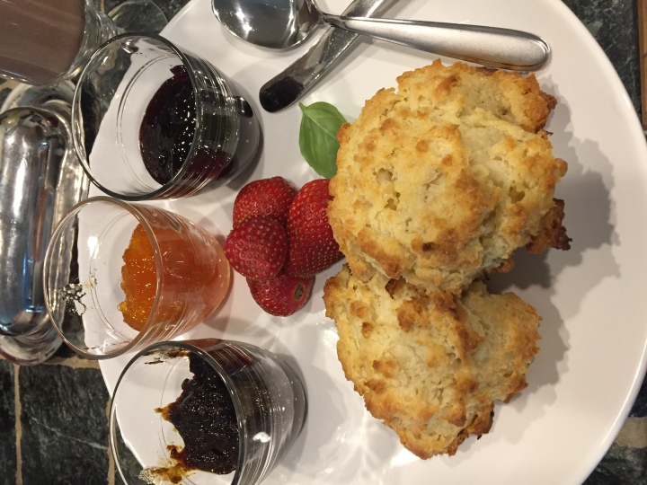 Raspberry jam, apricot, and fig, with biscuits
