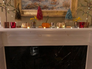 Lights, candles, and garlands for the Mantel decor