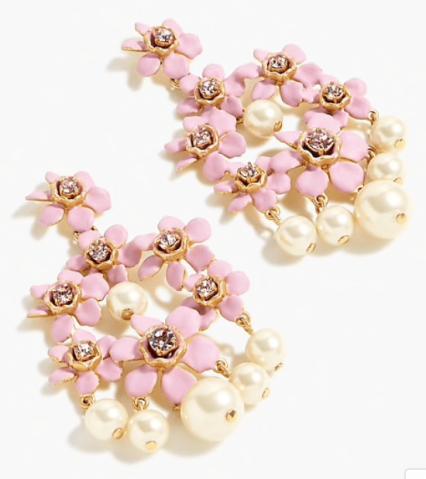 J Crew, Pearl & crystal flower earings