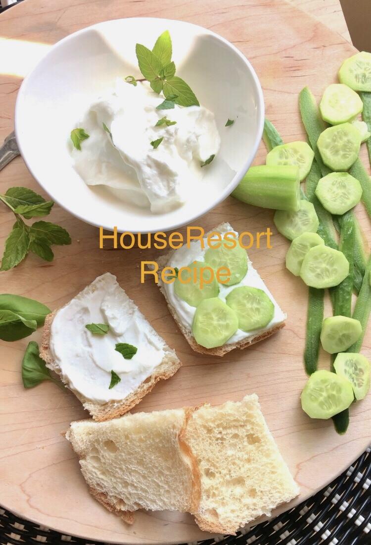 Cucumber sandwiches with Greek yogurt